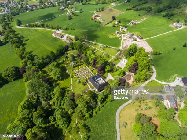 Aerial view of the Barony Rosendal, Hordaland county, Norway