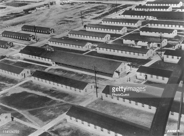 Aerial view of the barracks and mess hall in Camp Detrick a US Army facility in Frederick involved in biological and chemical weapons research...