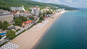Aerial view of the beach and hotels in Golden Sands, Zlatni Piasaci. Popular summer resort near Varna, Bulgaria