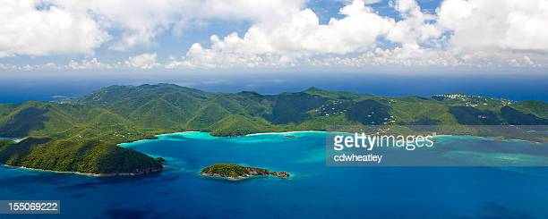aerial view of the beaches, St. John, US Virgin Islands
