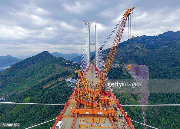 Aerial view of the Beipan River expressway bridge under construction on September 10 2016 in Bijie Guizhou Province of China The 13414meterlong...