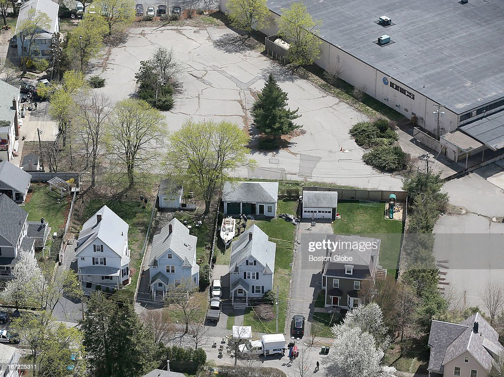 Aerial view of the boat where one of the Boston Marathon bombing suspects was found, in a backyard on Franklin Street. The boat and surrounding scene is currently under investigation.
