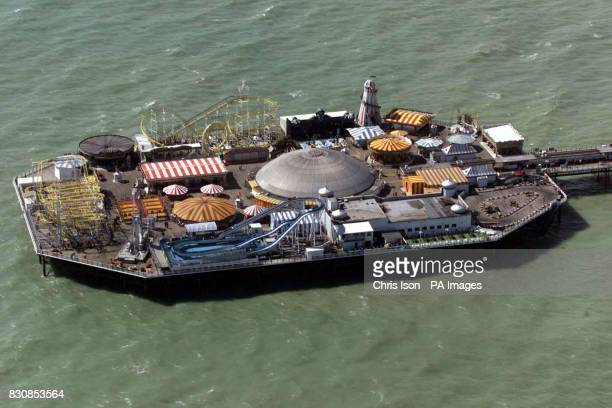 Aerial view of the Brighton Pier formerly the Palace Pier in foreground and the derelict West Pier behind 30/07/04 A company will appear in court...