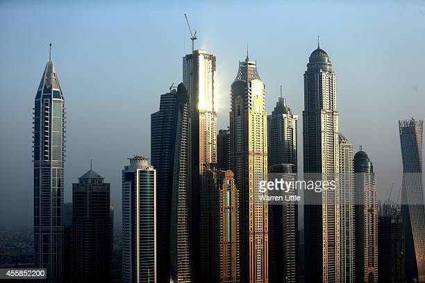 A aerial view of the buildings around Media City on September 17 2014 in Dubai United Arab Emirates