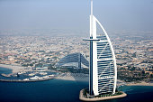 A aerial view of the Burj Al Arab on September 17 2014 in Dubai United Arab Emirates