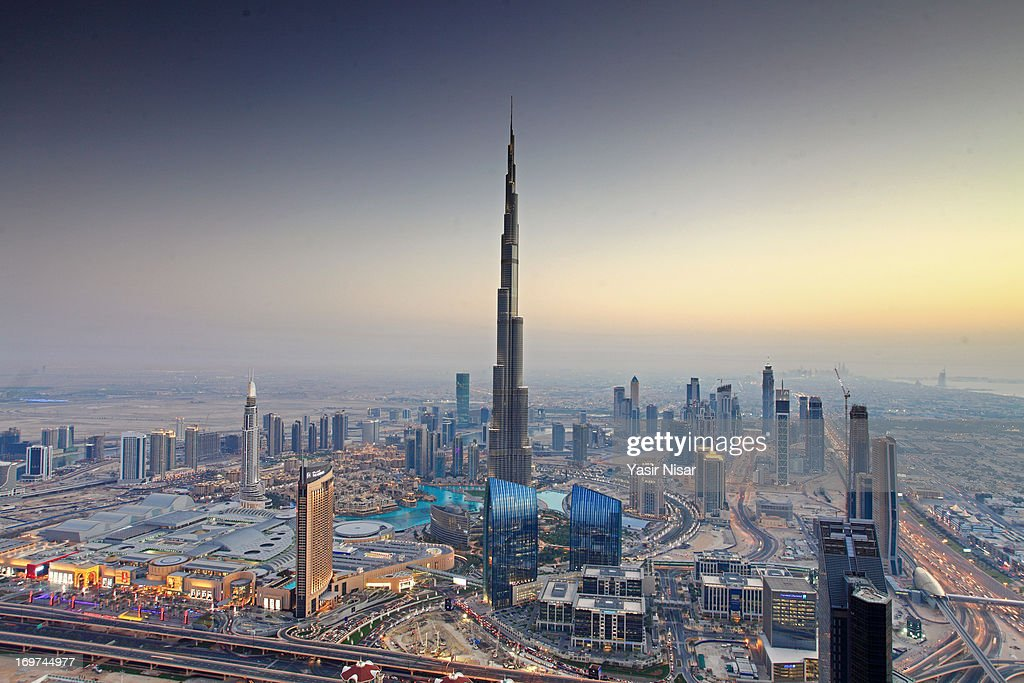 Aerial view of the Burj Dubai, Dubai, UAE