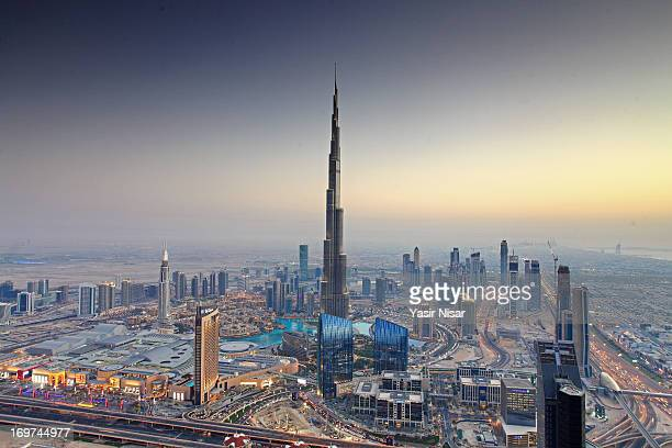 Aerial view of the Burj Dubai, Dubai, UAE