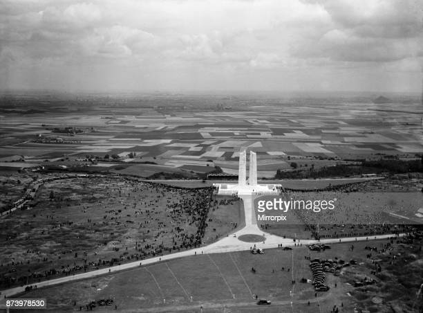 Aerial view of the Canadian War Memorial at Vimy Ridge as 50000 French and Canadian veterans gather for the dedication of the memorial The memorial...