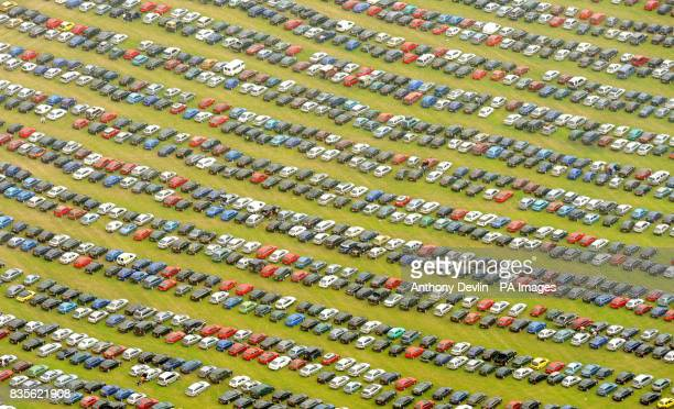 Aerial view of the car park at the 2009 Glastonbury Festival at Worthy Farm in Somerset
