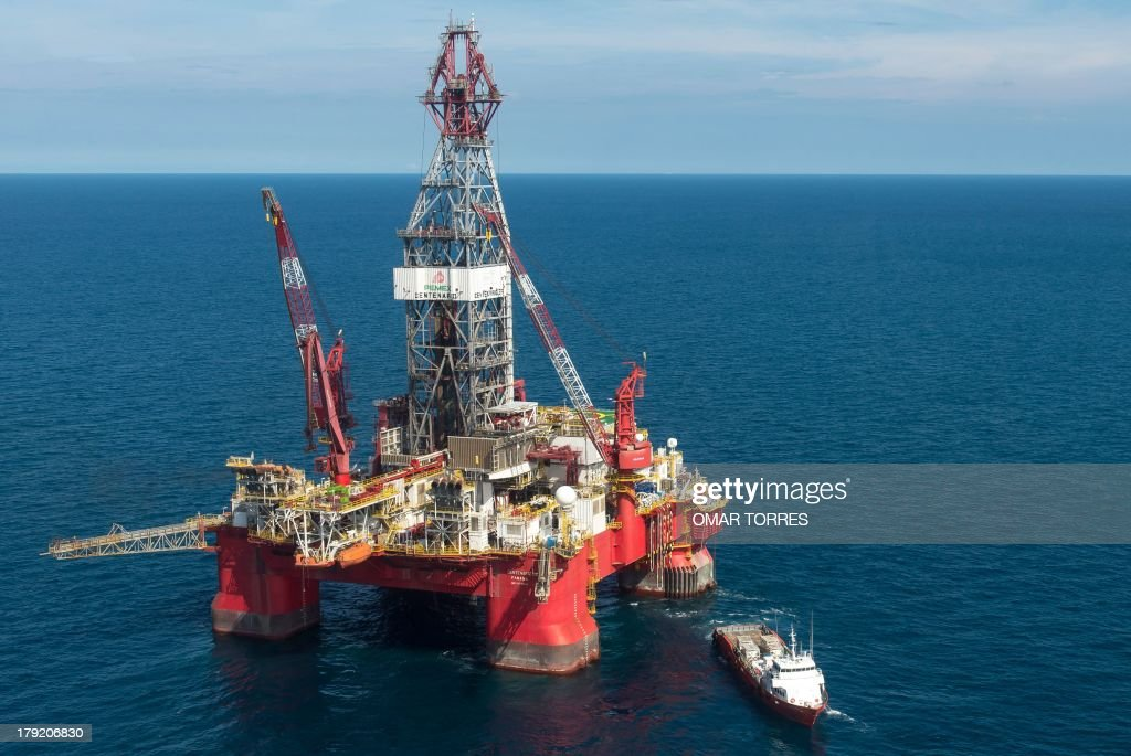 Aerial view of the Centenario exploration oil rig operated by Mexican company 'Grupo R' and working for Mexico's stateowned oil company PEMEX in the...