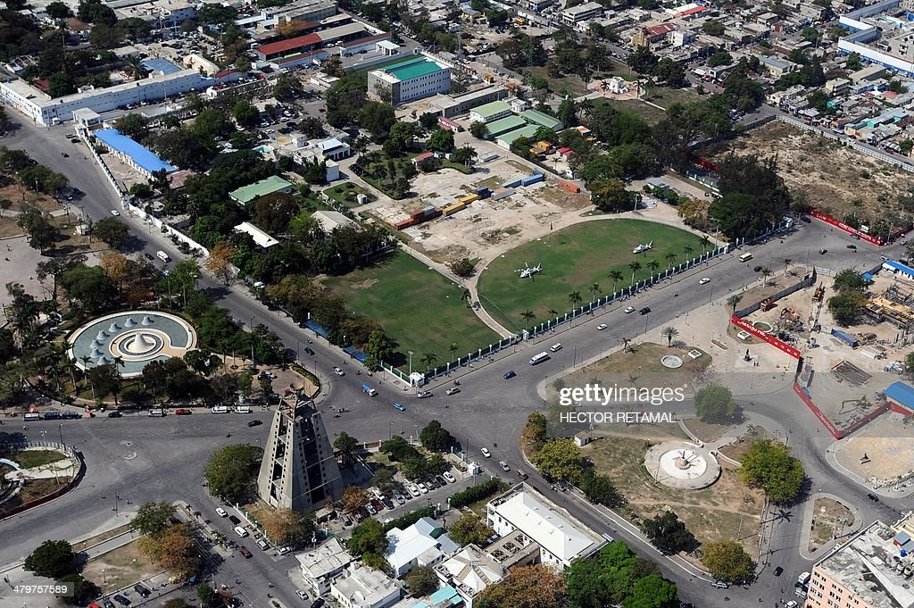 Aerial view of the center of city of PortauPrince and the site of the National Palace destroyed by the earthquake that hit Haiti in 2010 on March 20...