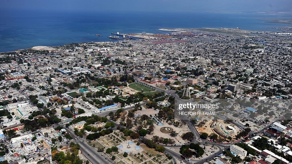 Aerial view of the center of city of PortauPrince en the center of picture the place in where were the old National Palace that was destroyed by the...