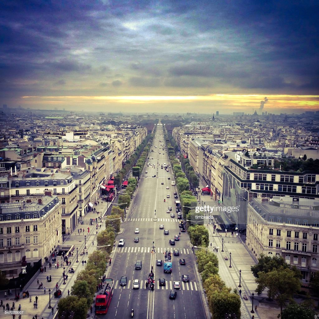Aerial view of the Champs Elysees, Paris, France