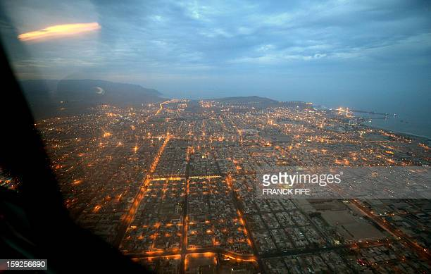 Aerial view of the city of Arica before the Stage 6 of the Dakar 2013 between Arica and Calama Chile on January 10 2013 The rally is taking place in...