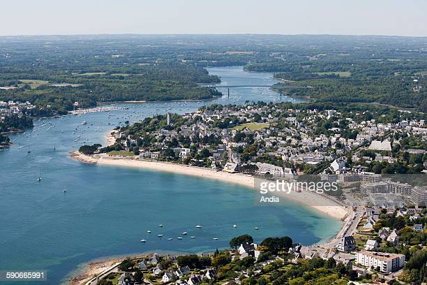 Aerial view of the city of Benodet Finistere department Brittany Mouth of the Odet river Cornouaille Bridge and beach 'Plage du Trez' Breton coast...