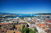 Aerial view of Geneva from the bell tower of St. Pierre Cathedral