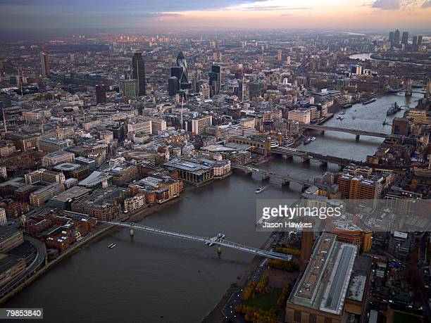 Aerial view of the City of London on September 11 2007 in London