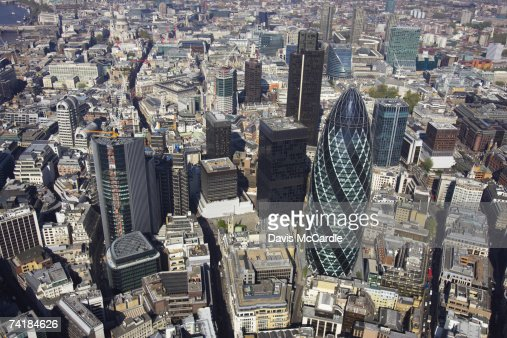 Aerial view of the City of London, the financial centre of the capital. : Stock Photo