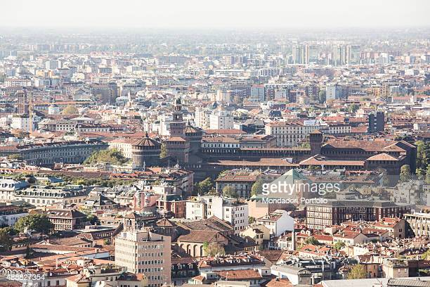 Aerial view of the city of Milan in the middle can be distinguished the Sforza Castle one of the most important symbols of the Lombard city built in...