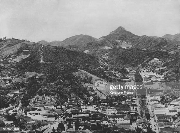 Aerial view of the city of Petropolis residence of diplomats and personalities also called 'hydrangeas city' in Petropolis Brazil on January 18 1955