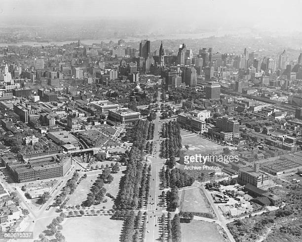 Aerial view of the city of Philadelphia PA circa 1930