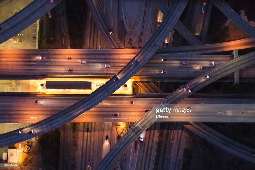 aerial view of the city overpass at dusk,LA : Stock Photo