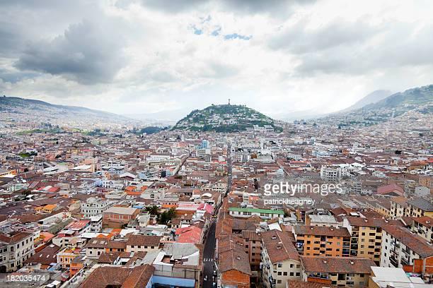 Aerial view of the city Quito in Ecuador
