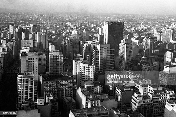 Aerial view of the city with its many skyscrapers Buenos Aires August 1970