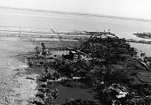 Aerial view of the coastal area of Patuakhali littered with dead cattle after it was hit by the tropical cyclone and tidal wave on November 13 which...