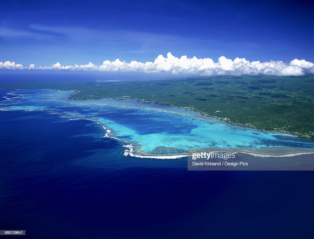 Aerial view of the coastline of Savaii Island