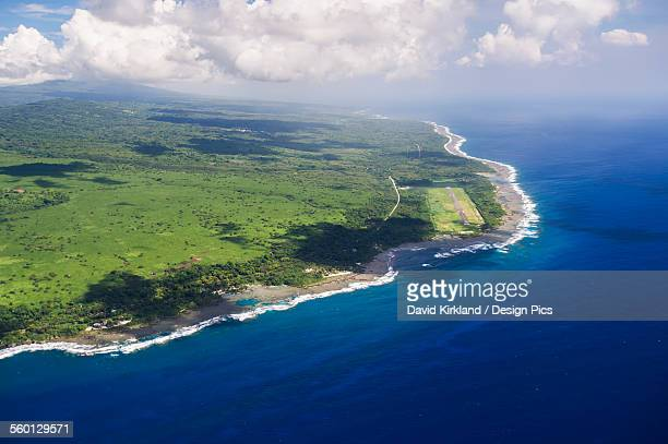 Aerial view of the coastline of Tanna Island