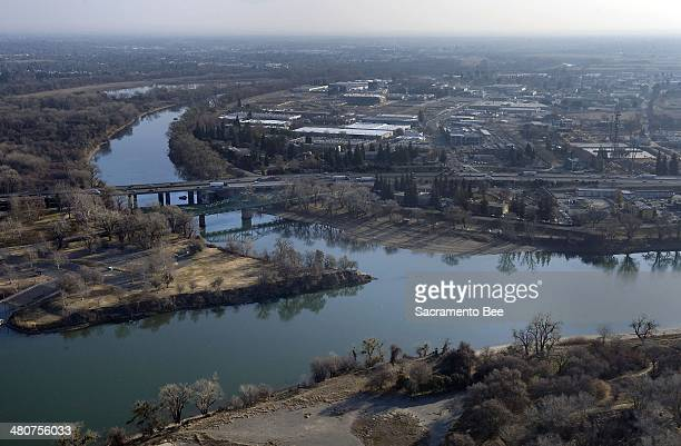 Aerial view of the confluence of the American River and the Sacramento River at Discovery Park on Thursday January 23 2014
