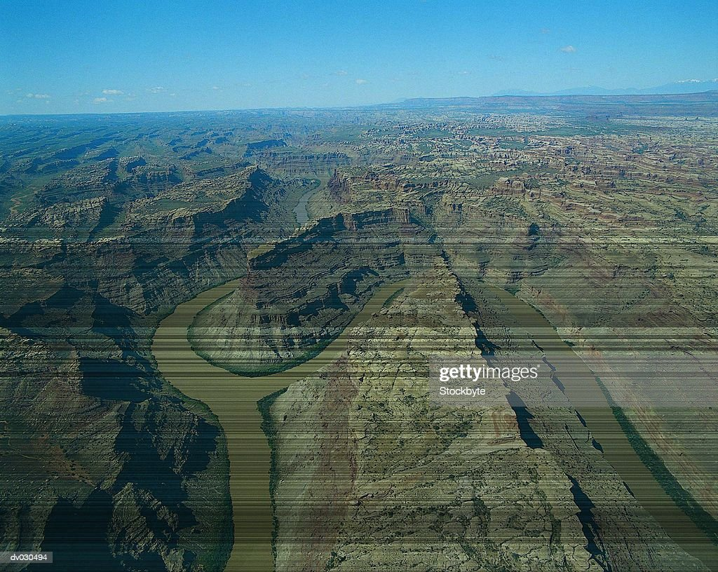 Aerial view of the confluence of the Green and Colorado Rivers, Utah, USA
