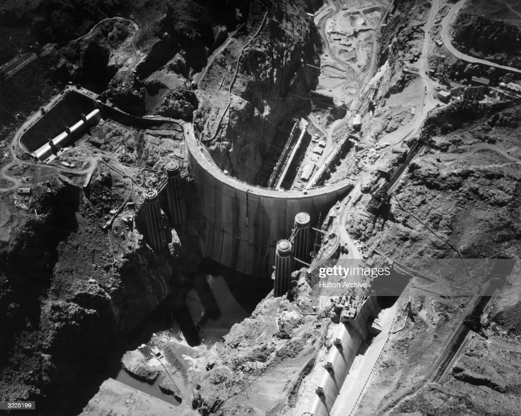 Aerial view of the construction of the Boulder Dam, renamed the Hoover Dam in 1947, shortly before its completion, Nevada.