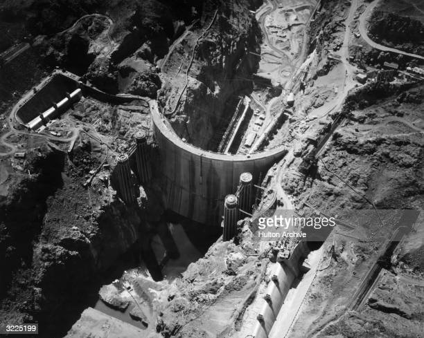 Aerial view of the construction of the Boulder Dam renamed the Hoover Dam in 1947 shortly before its completion Nevada