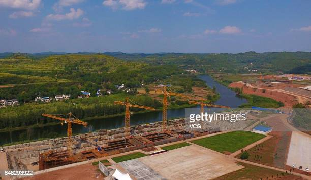 Aerial view of the construction site of fullsize Titanic replica at Daying County on September 12 2017 in Suining Sichuan Province of China When...