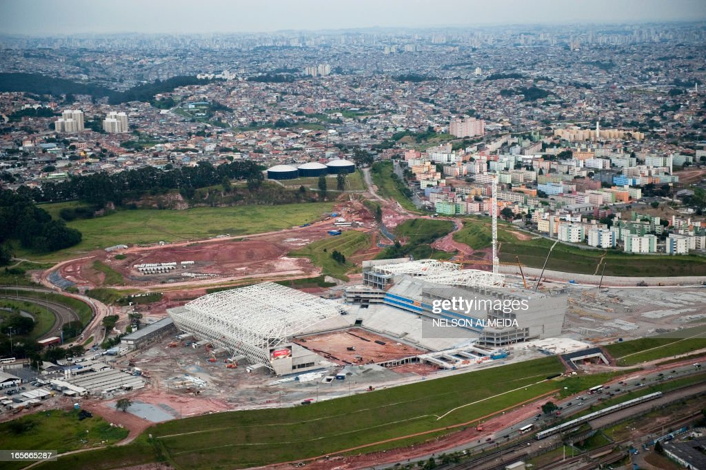 Aerial view of the construction site of Itaquerao football stadium which will host matches of the FIFA 2014 World Cup in Sao Paulo, Brazil, on April 4, 2013. AFP PHOTO / Nelson ALMEIDA
