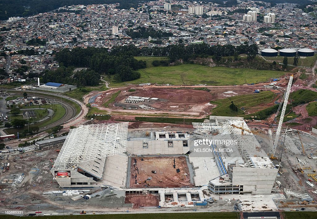 Aerial view of the construction site of Itaquerao football stadium which will host matches of the FIFA 2014 World Cup, in Sao Paulo, Brazil, on April 4, 2013. AFP PHOTO / Nelson ALMEIDA