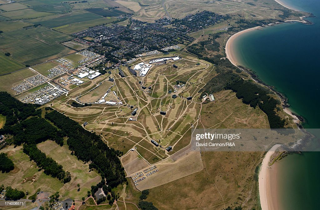 Aerial View of the course and surrounding area during the second round of the 142nd Open Championship at Muirfield on July 19, 2013 in Gullane, Scotland.