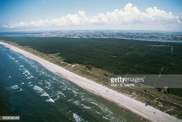Aerial view of the Curonian Spit with the city of Klaipeda in the background Lithuania
