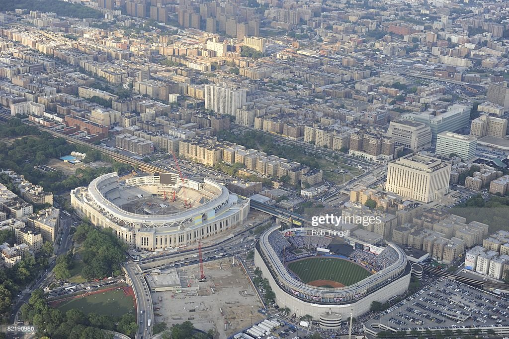 Aerial view of the current Yankee Stadium and the future Yankee Stadium currently being built during the 79th MLB All-Star Game in the Bronx, New York on July 15, 2008. The American League defeated the National League.