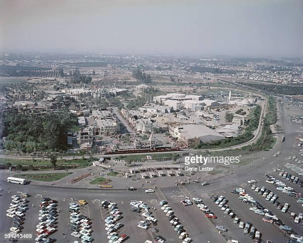 Aerial view of the Disneyland amusement park Anaheim California 1950s