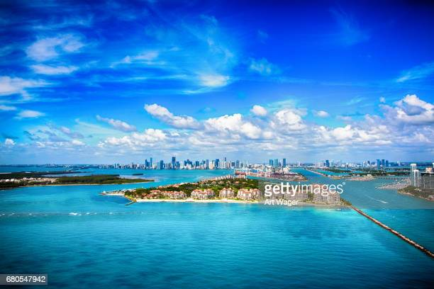 Aerial View of the Distant Skyline of Miami Florida