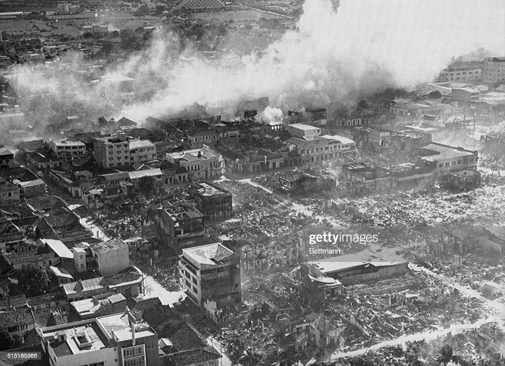 Aerial view of the downtown area of Managua after the 1972 earthquake where martial law and a curfew has been imposed to stop looting