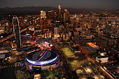 PARK CA NOVEMBER 4 2014 Aerial view of the downtown Los Angeles skyline with Staples Center and LA Live foreground left taken on November 4 2014