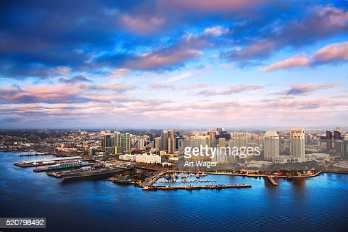 Aerial View of the Downtown San Diego Skyline at Dusk