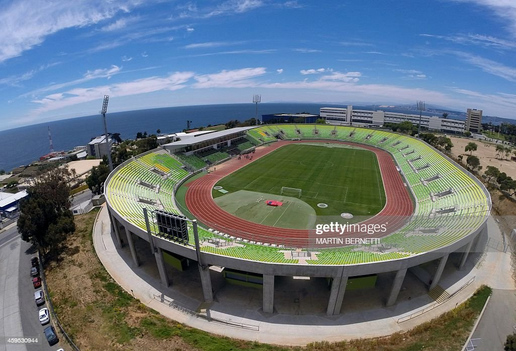 Aerial view of the Elias Figueroa stadium which will host the Copa America 2015 in Valparaiso Chile on November 23 2014 AFP PHOTO/MARTIN BERNETTI