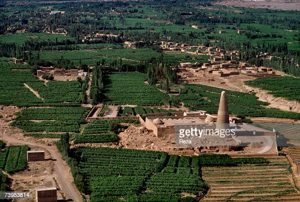 Aerial view of the Emin Mosque and Minaret built in 1778 in Turpan August 1995 in Turpan China