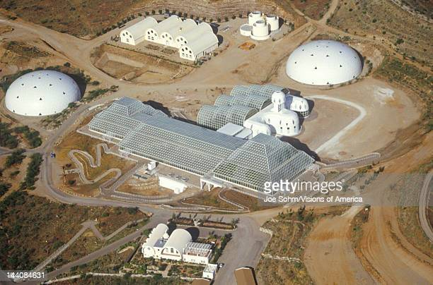 Aerial view of the enclosed ecosystem of Biosphere 2 at Oracle in Tucson AZ