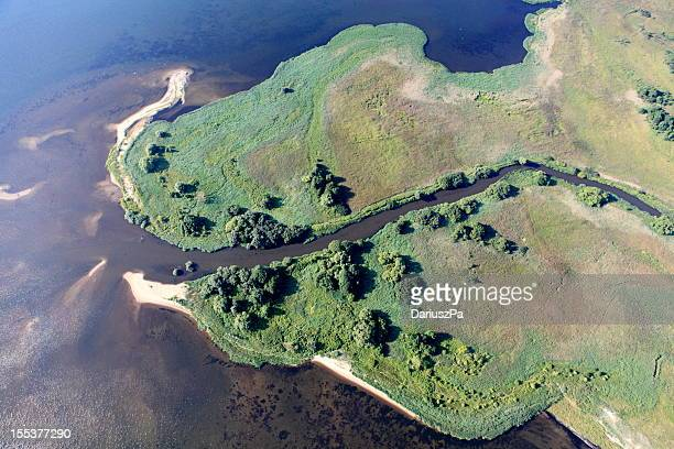 Aerial view of the estuary. Reda river